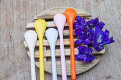 Set of colorful plastic spoons Royalty Free Stock Photos