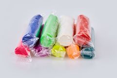 Set of colorful plasticine isolated on a white background. royalty free stock photos