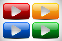 Set of Colorful Play Buttons Stock Images