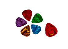 Set of colorful plectrums and plectrum holder Stock Photos