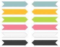 Set of 6 colorful pointing ribbons Stock Photos