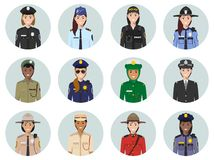 International police concept. Different policeman characters avatars icons set in flat style. Illustrations of sheriff, gendarme a. Set of colorful police royalty free illustration