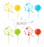 Set Colorful Popped Balloons Isolated Royalty Free Stock Images