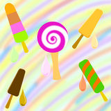 Set of colorful popsicle on a rainbow background Royalty Free Stock Image