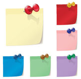 Set of colorful post paper and pin. Illustration of colored post papers with pinns Stock Photos