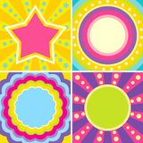 Set of colorful posters. In the music style of disco Royalty Free Stock Photo
