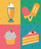 Set of colorful posters with muffin, cake, ice cream and milkshake Stock Image