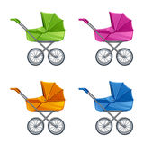 Set of colorful prams. On a white background Royalty Free Stock Photo