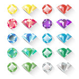 Set of colorful precious gem icons in flat style Royalty Free Stock Image