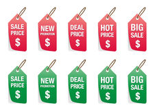 Set of colorful price tag vector isolated on white, labels for discount sales Stock Photo