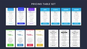 Set of colorful pricing table stock illustration