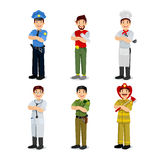 Set of colorful profession man flat style icons. Policeman, artist, cooker, military, doctor, firefighter. Vector Royalty Free Stock Photo
