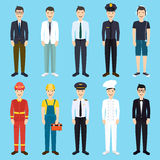 Set of colorful profession man flat style icons. Royalty Free Stock Image