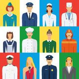 Set of colorful profession people flat style icons vector illust Royalty Free Stock Images