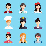 Set of colorful profession woman flat style icons: businessman, Stock Photo