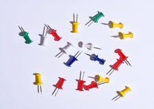 Set of colorful push pins royalty free stock photos