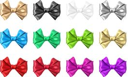 Colorful realistic satin bows isolated on white. Set of colorful realistic beautiful satin bows for gift isolated on white. Vector illustration Royalty Free Stock Image