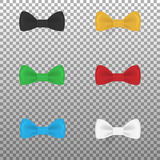 Set of colorful realistic bow ties stock illustration