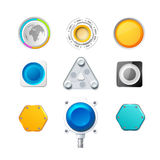 Set of 9 colorful realistic 3d buttons and Royalty Free Stock Photos