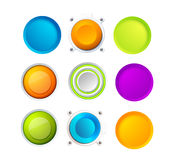 Set of 9 colorful realistic 3d buttons. Vector Stock Photography