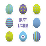 Set of colorful realistic easter eggs Royalty Free Stock Photography