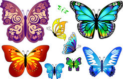 Set of colorful realistic isolated butterflies. Royalty Free Stock Image