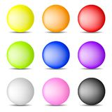 Set of Colorful Realistic Spheres isolated on white background. Glossy Shiny Spheres. Vector Illustration for Your Design, Game. Set of Colorful Realistic vector illustration