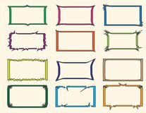 Vector Color rectangle frames set. Set of 12 Colorful rectangle frames. Vector illustration Stock Images