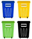 Set of colorful recycle bins Royalty Free Stock Photo