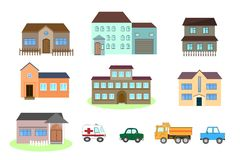 Set of Colorful Residential Houses. stock illustration