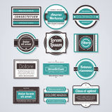 Set of 12 colorful retro badges on white background. EPS10 vector template stock illustration