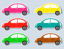 Set of colorful retro cars Royalty Free Stock Image
