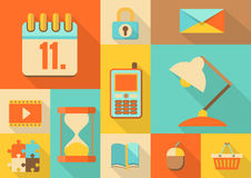 Set of colorful retro flat icons, illustration Royalty Free Stock Images