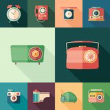 Set of colorful retro flat square icons with long shadows. Set of colorful detailed and realistic flat design style icons Royalty Free Stock Photo