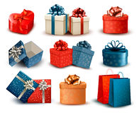 Set of colorful retro gift boxes with bows and rib Stock Images