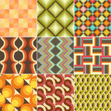 Set of Colorful Retro Seamless Pattern Stock Photos