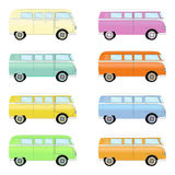 Set of colorful retro travel buses. Cartoon hippie vans in different colors isolated on a white background. Royalty Free Stock Images