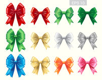 Set of colorful ribbon tied bows in vector format royalty free illustration