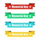 Set of colorful ribbons banners with Memorial Day. Vector illustration Stock Image