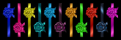Set of colorful  ribbons with bow Royalty Free Stock Photography