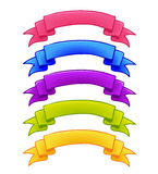 Set of colorful ribbons. For game interface.Vector illustration.Games icon design for app user interfaces. On White Background Royalty Free Stock Images