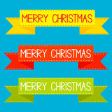 Set of colorful ribbons. Merry Christmas card. Stock Photography