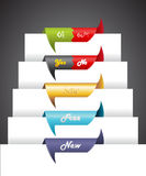 Set of colorful ribbons over the paper. Royalty Free Stock Images