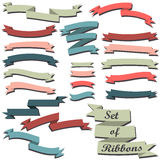 Set of colorful ribbons. Retro styled ribbons collection. Vector set of colorful ribbons vector illustration