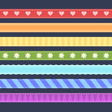 Set of colorful ribbons. Stitched colorful ribbons with pattern Stock Photography