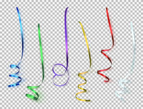 Set of colorful ribbons on transparent background. Stock Photo