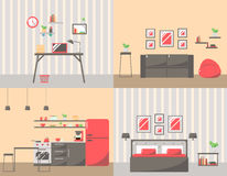 Set of Colorful Room Interiors with Furniture Icons: Living Room Stock Image