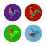 Set of colorful rooster and icons. Flat design style vector illustrations of symbol 2017 chineese new year stock illustration