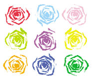 Set of 9 colorful rose stamp Royalty Free Stock Photography
