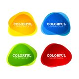 Set of colorful round abstract banners shape. Graphic overlay banners design. Fun label or tag design.  vector illustration